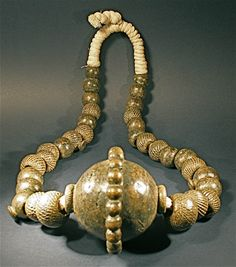 Late 18th, early 19th Century.  Textured bronze brass beads, from the Yoruba tribe of Nigeria.