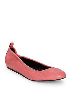 Lanvin Classic Leather Ballet Flats - Pink - Size 36.5 (6.5)