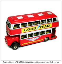 Double Decker Bus, HAYASHI/ATD, Japan (Picture 2 of 2). Vintage Tin Litho Tin Plate Toy. Friction Drive Mechanism.