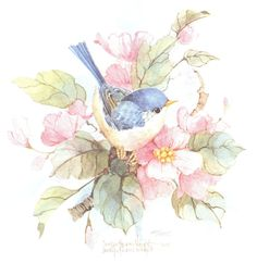 An x original watercolor of two birds and flowers by Carolyn Shores Wright. Birds of all types--serious, whimsical and humorous--have always been one of her favorite topics.She has also enjoyed painting flowers. Watercolor Bird, Watercolor Animals, Watercolor Paintings, Bird Quilt, Cute Birds, Vintage Birds, Floral Illustrations, Fabric Painting, Bird Art