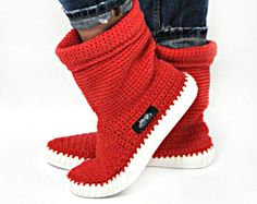 Crochet Boots Knit boots  for  street adult   outdoor made to Order Boots crochet  Crochet Knitted Shoes Outdoor Boots  folk hippie