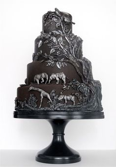 African safari black and silver relief wedding cake