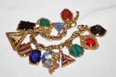 Czech Art Deco Charm Bracelet Intaglio Cameo Glass by patwatty, $90.00