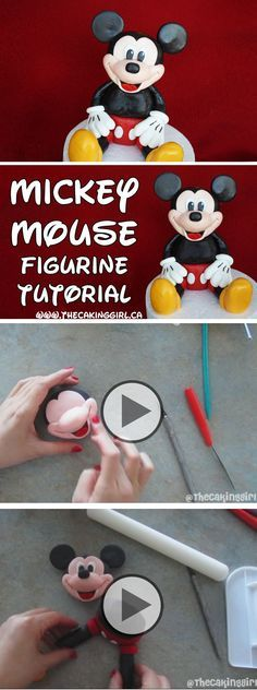 How to make a Mickey Mouse figurine tutorial. Edible Mickey Mouse gumpaste figurine. Más