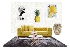 """livingroom"" by evelina-hagstrom on Polyvore featuring interior, interiors, interior design, home, home decor, interior decorating, Gold Sparrow, Bernhardt, Art for Life and Maison La Bougie"