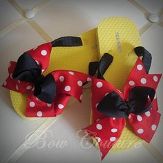 Boutique Classic Bow Embellished Flip Flops - Miss Mouse in Black Red and Yellow