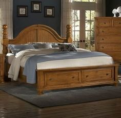 Reflections King Cannonball Poster Storage Bed - Pine at Lucas Furniture