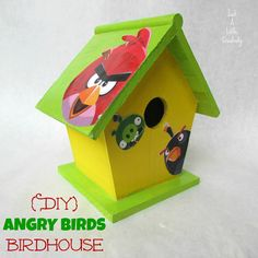 Just a little Creativity: {DIY} Angry Birds Birdhouse {Using Mod Podge Washout and Apple Barrel Paint} #plaidkidscrafts