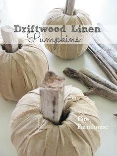 DIY Dfriftwood Linen Pumpkins-City Farmhouse