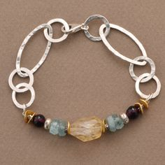 Organic Citrine and Sterling Links Bracelets by Elizabeth Plumb Jewelry