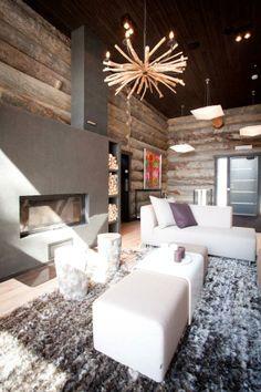 Upea kelohuvila. Log Houses, Koti, Cozy Cabin, Log Cabins, Cabana, Outdoor Furniture, Outdoor Decor, Sun Lounger, Villa