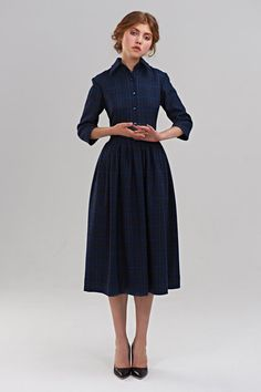 50s Dress Navy Dress Midi Dress Plaid Dress Blue by mrspomeranz