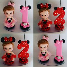 """""""Bom dia Mini topinhos (com imagens) Mini Mouse Cookies, Minie Mouse Party, Fondant Numbers, 1st Birthday Photoshoot, Fondant Figures Tutorial, Fondant Cake Toppers, Clay Dolls, Cold Porcelain, Clay Projects"""