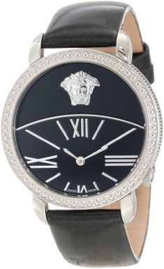 Versace Women`s 93Q99D008 S009 Krios Black Enamel and Sunray Dial Patent Leather Watch $455.00
