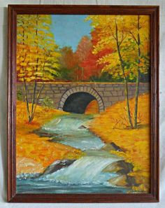 Vintage Original Painting Huowe Cascading Brook Bridge Orange Fall Foliage  | eBay Orange Painting, Original Paintings, The Originals, Fall, Ebay, Vintage, Bridge, Autumn, Fall Season