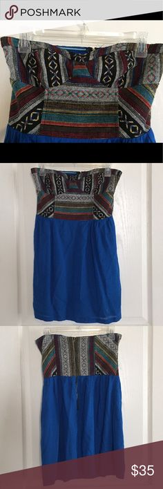 """Urban Outfitters """"Mexican Blanket"""" Skater Dress Never worn. By Staring at Stars. Size 6, but I think it's a little small and would also fit a 4. Zip back. 26"""" long. Waist 15"""". Bodice appprix 16"""" across. Urban Outfitters Dresses Strapless"""