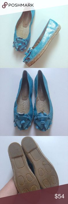DONALD J. PLINER Maria Metallic Flower Espadrilles Make these gorgeous turquoise metallic espadrilles by Donald J. Pliner yours today! Distressed metallic upper, espadrille rope, rubber sole, leather lining; Easy slip-on design; Floral detailing at toes; Rope footbed; 1 inch rope platform. Made in Spain. New without tags, never worn, and in excellent condition! Donald J. Pliner Shoes Espadrilles