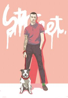 French bulldog with young boy in street illust by chacha