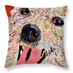 Harley Pup Throw Pillow by Debbie Davidsohn - Customizable Sizing - In Support of Rescue Foundation: The Pepper Foundation, Studio City, CA. and no kill shelters.  Order yours today and brighten & cheer up your living room, patio, sun room, play room, hallway, or office!