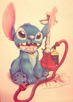 Stitch hookah & Jack Daniels <3 this is what he'd look like on a nightout with me! Haha! ©miss.a.™