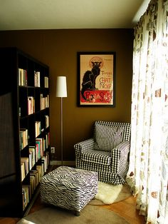 reading nook - like the idea of a lamp, oversized chair or bean bags, bookshelf
