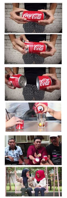 The Coke Sharing Can twists into two self-contained cans so you can share your drink without sharing your germs. PD