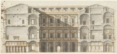 063-HIGH RENAISSANCE ARCHITECTURE, Sangallo; section of the Palazzo Farnese, Rome. The courtyard articulated with superimposed arcades, reflecting the late Bramante and Michelangelo.