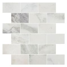 From The Tile Shop - option for both kitchen & fireplace  Tempesta Neve Polished Amalfi Marble Mosaic Tile - 12 x 12 in.