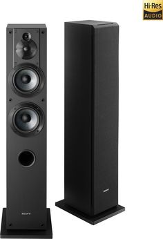 "Sony - Core Series Dual 5"" 3-Way Floorstanding Speaker (Each) - Black"