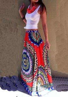 Multicolor Floral Print Floor Length National Loose Skirt