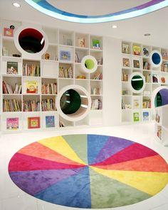 KIDS REPUBLIC, Beijing, 2005 - SAKO architects, Keiichiro Sako #bookshelves #colours #interiors
