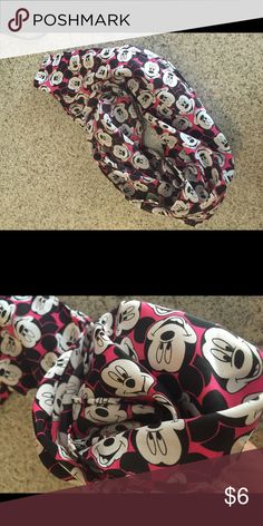Mickey Mouse Scarf For all you Disney lovers! Silk Mickey Mouse scarf. Black and pink Disney Accessories Scarves & Wraps