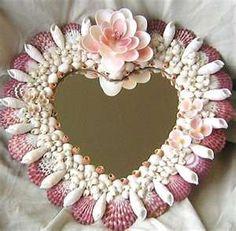 Heart Shaped Seashell craft Mirror - Ocean Blooms Now