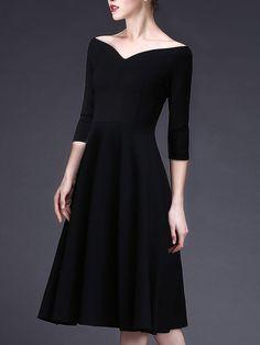 Bateau Black Midi Dress