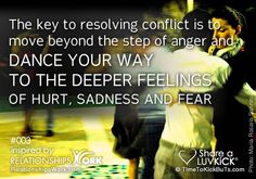 The key to resolving conflict is to move beyond the step of anger and dance your way to the deeper feelings of hurt, sadness and fear. Share a ♥ LUV KiCK via @GrowLove  http://TimeToKickBuTs.com