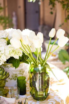 beautiful white tulips and hydrangeas...lovely.