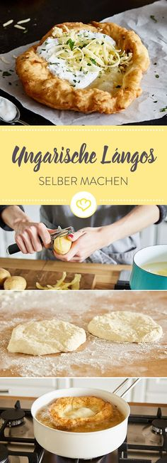 Lángos - the Hungarian original for do-it-yourself-Lángos – das ungarische Original zum Selbermachen Lángos are traditional flatbreads from Hungary. Discover the original recipe of the crispy yeast dough flatbread with sour cream and cheese. Pasta Recipes, Beef Recipes, Shrimp Recipes, Cake Recipes, Sour Cream Cake, Snacks Für Party, Unique Recipes, Different Recipes, Original Recipe