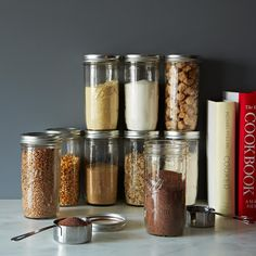 $18 9 Jars - These wide mouth canning jars hold 1.5 pints -- perfect for anything from your morning coffee, weekday lunch...or favorite cocktail.