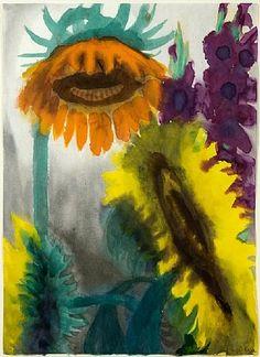 Emil Nolde, Sonnenblumen und Gladiolen / Sunflowers and Gladioli 1930