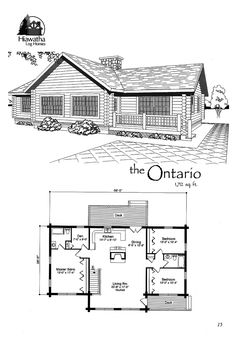 Our Ontario log home floor plan features 1,712 SF.