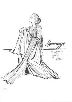 hommage . Madame Grés 1936  Artlike by Alexandra Karakopoulou  ww.artlike.info Madame Gres, Sketches, Illustrations, Drawings, Art, Art Background, Illustration, Kunst, Performing Arts