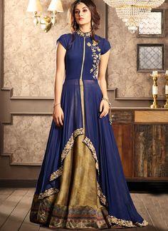 Buy Glamorous Blue Designer Partywear Digital Printed Viscose Georgette & Spanish Silk Lehenga at Rs. Get latest Lehenga for womens at Peachmode. Long Choli Lehenga, Ghagra Choli, Silk Lehenga, Lehenga Suit, Anarkali Suits, Western Dresses, Indian Dresses, Indian Outfits, Indian Clothes