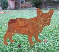 French Bulldog Garden Stake or Wall Hanging / Pet Memorial / Bull Dog / Garden Art / Garden Decoration / Rusty / Shadow / Dog / Metal
