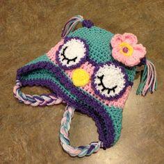 Crocheted Sleepy Owl Hat - in modern colors
