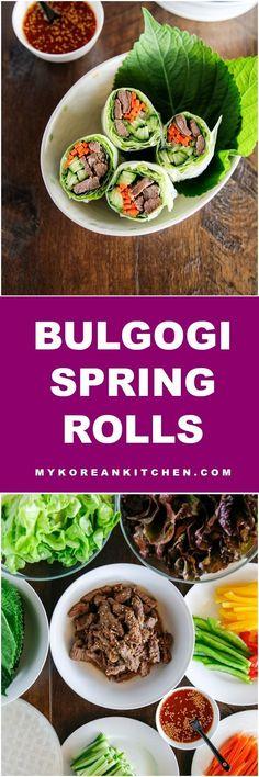 Bulgogi spring rolls with sweet ssamjang sauce | MyKoreanKitchen.com #koreanfood #bulgogi #springrolls #healthy #partyfood