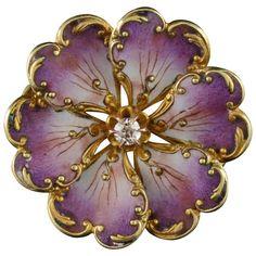 1900s Art Nouveau French Art Purple Enamel Diamond Gold Pin 1