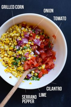 Perfect Grilled Corn Salsa (I wouldn& really call this a salsa, but it IS a delicious salad. I use jalapenos instead of serranos in this one). Mexican Food Recipes, Vegan Recipes, Cooking Recipes, Baker Recipes, Cooking Tips, Savoury Recipes, Mexican Dishes, Corn Salsa, I Love Food