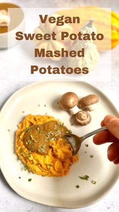 Plant-Based Sweet Potato Mashed Potatoes are completely vegan and oil-free, but still filled with TONS of flavor. Top with a vegan mushroom gravy for a tasty dish. #mashedpotatoes #sweetpotatoes #meatlessmonday #meatless #meatlessmeals #nomeat #vegan #glutenfree #oilfree #sugarfree #plantbased #oilfreevegan #sugarfreevegan #glutenfreevegan #wfpb #forksoverknives #vegansofig #veganblogger #foodblogger #food52gram #catholic #theplantbasedcatholic #foodtographyschool Salt Free Recipes, Quick Recipes, Clean Recipes, Whole Food Recipes, Diet Recipes, Easy Thanksgiving Recipes, Vegan Thanksgiving, Fall Recipes, Holiday Recipes