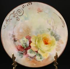 "Limoges FRANCE HAND PAINTED ROSE PLATE   GOLD RIM ARTIST SIGNED 9.5"" #Limoges"