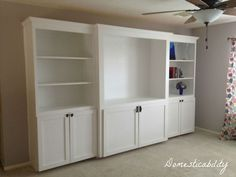 diy media unit, doors, entertainment rec rooms, painted furniture, shelving ideas, woodworking projects, The Media Unit 11ft long 7ft tall